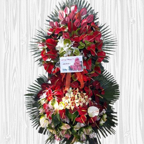 تاج گل نمایشگاه و مراسم شادی دو طبقه
